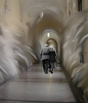 Elderly Couple Walking Away